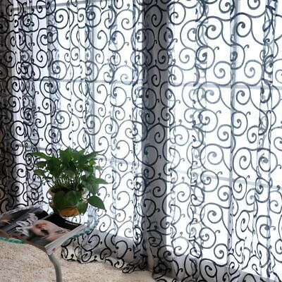 Window Screening Curtains Woven Translucidus Flocking Patterned Home Decorations • 9.11£