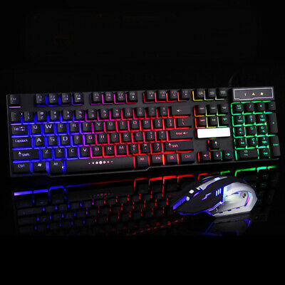 AU20.69 • Buy AU LED Rainbow Color Backlight USB Wired Gaming Keyboard Mouse Hot ZY