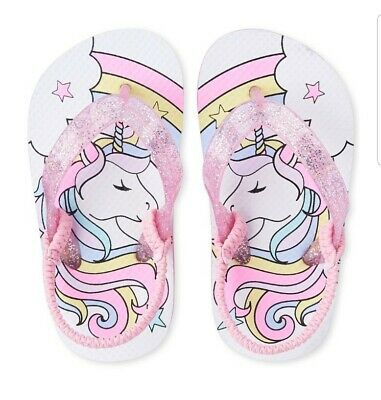 $9.99 • Buy NWT The Childrens Place Unicorn Toddler Girls Flip Flops Sandals Shoes Size 6-11