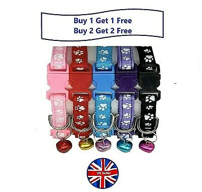 Paw Print Puppy, Small Dog Or Cat Adjustable Collars, Side-Release Buckle & Bell • 2.49£