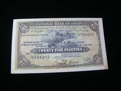 $65 • Buy Egypt 1941 25 Piastres Banknote VF+ P#10c