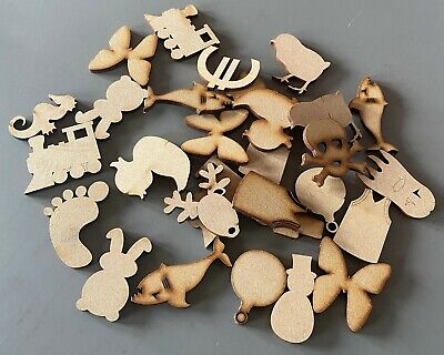 50mm Wooden MDF Shapes Hearts Stars Butterfly Bunting Craft Embellishments Decor • 5.95£