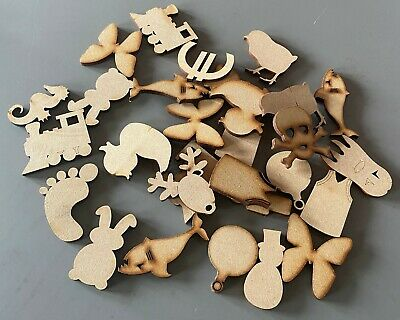 50mm Wooden MDF Shapes Hearts Stars Butterfly Bunting Craft Embellishments A • 2.95£