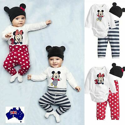 AU14.50 • Buy Baby Rompers 3pcs Boy Girl Clothing Hat Pant Set Bodysuit Set Cotton New Born
