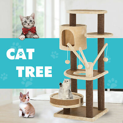 AU95.90 • Buy 110CM Cat Tree Scratching Post Scratcher Tower Condo Gym House Furniture Wood