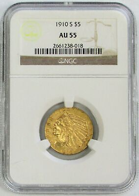 $ CDN870.68 • Buy 1910 S Gold United States $5 Indian Head Half Eagle Ngc About Unc 55