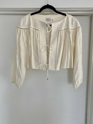 $189 • Buy ZIMMERMANN Empire Linear Cropped Linen Blouse Size AU 2 US 6-8 In Natural
