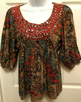 $7.75 • Buy Live And Let Live Ladies Size Petite Medium Boho Multi-Colored Top Embellished