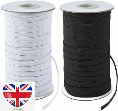 Face Mask Elastic For Sewing QUALITY UK STOCK Thin Flat Strip Black White 6mm • 3.89£