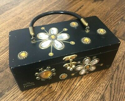 $50 • Buy ENID COLLINS Of Texas Box Bag Vtg 60s Jeweled Top Handle Purse Black Gold Daisy