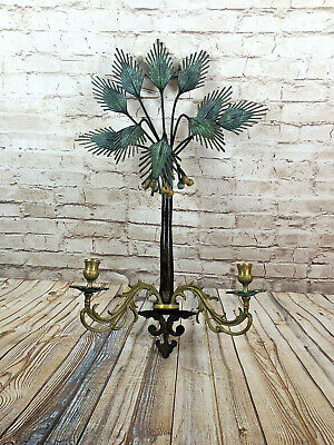 Heavy Art Deco Painted Wrought Iron Palm Three Brass Wall Mount Candle Sconce • 134.61£