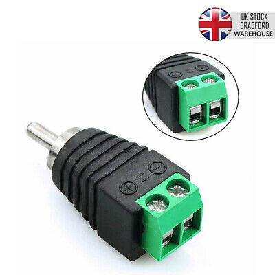 5pcs UTP CAT5 CAT6 Speaker RCA Wire To AV Phono Male RCA Connector Jack Adapter • 2.70£