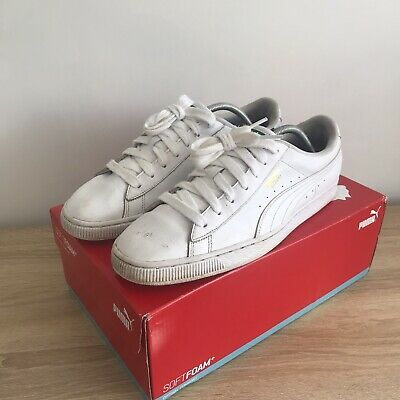 Puma Basket White Leather Trainers Mens Size 10 44.5 Suede Clyde • 15.99£