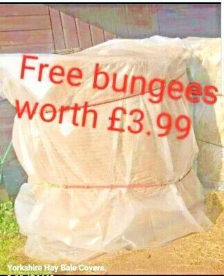 £14.99 • Buy 5ft Hay Bale Cover + 2 Free Bungees Round 600g Plastic Waterproof Straw Nets Bag