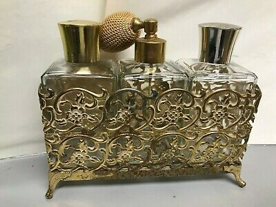 $58 • Buy Vintage 3 Perfume Bottle Gold Tone Glass Ormolu Stand Footed With Squeeze Bulb