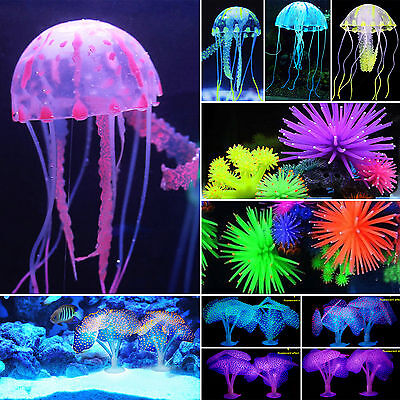 Glowing Aquarium Landscape Fish Tank Water Grass Jellyfish Coral Ornament Decor • 2.79£