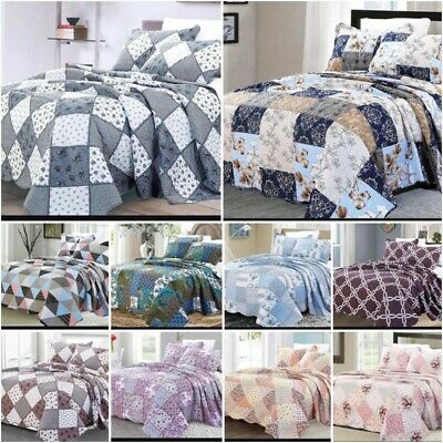 £24.99 • Buy 3 Piece Quilted Patchwork Bedspread Printed Comforter Throw Set Double King Size