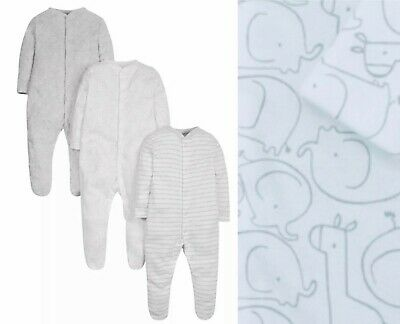 £8.95 • Buy  Mothercare Baby Boys Sleepsuits 3 Pack Grey White Elephant Pure Cotton NEW