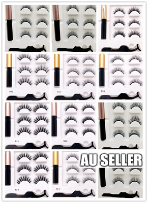 AU3.99 • Buy Magnetic False Eyelashes Natural Eye Lashes Extension Liquid Eyeliner Tweezer