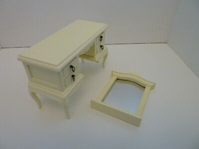 Dolls House Miniature 1:12th Bedroom Cream French Style Dressing Table & Mirror • 18.39£