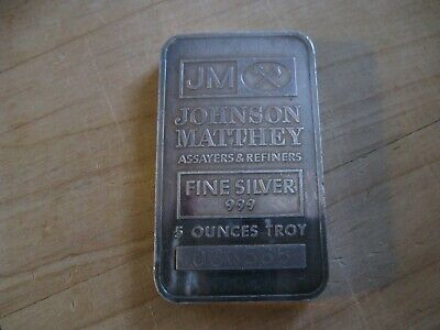 $ CDN250 • Buy Vintage 5 Oz Johnson & Matthey Silver Bar Serial 036565 - Toned