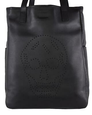 AU821.92 • Buy New Alexander Mcqueen AM 324906 Leather Perforated SKULL Large Tote Purse Bag