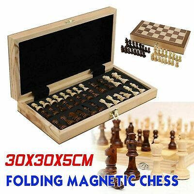 £12.99 • Buy Large Chess Wooden Set Folding Chessboard Magnetic Pieces Wood Board UK
