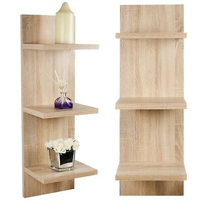 3 Tier Wooden Floating Panel Shelves Wall Mount Hanging Storage Display Unit MDF • 14.99£