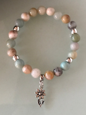 Protection Anxiety Stress Relief Daisy Flower Amazonite Crystal Healing Bracelet • 4.99£