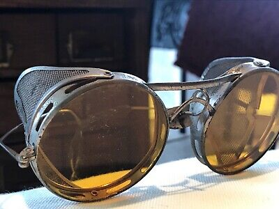 $79.95 • Buy Antique Vtg Folding Metal Mesh Safety Eyeglasses Steampunk Goggle Yellow Lens