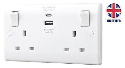 Electrical Double 13amp Socket With 2x USB Outlet Type A And C - 4.2Amp LAP • 20.99£