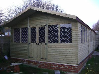 40 X 16 ULTIMATE LOG CABIN SUMMER HOUSE OFFICE WOODEN SHED TOP QUALITY TIMBER • 11,811.48£