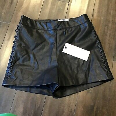 $30.60 • Buy  NEW Dance & Marvel Lace Up Side Black Leather Shorts Women Size S Zipper Back..