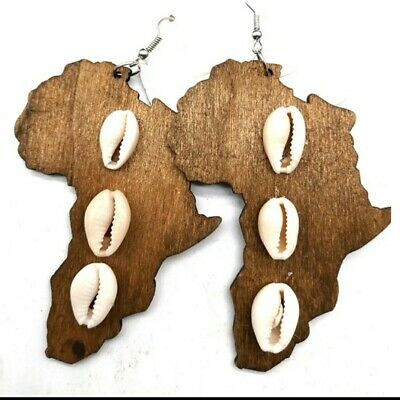 African Map With Shells Wooden Earrings| Brown  • 5.99£