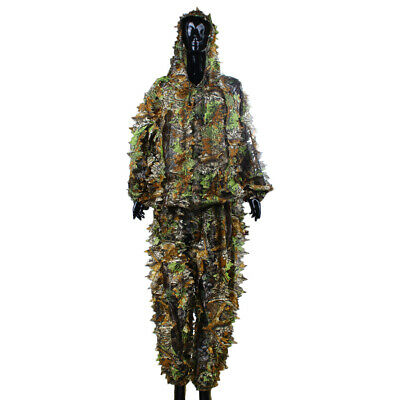 Leaf Camouflage Woodland Sniper Camo Ghillie Suit 3D Jungle Forest Hunting • 15.99£