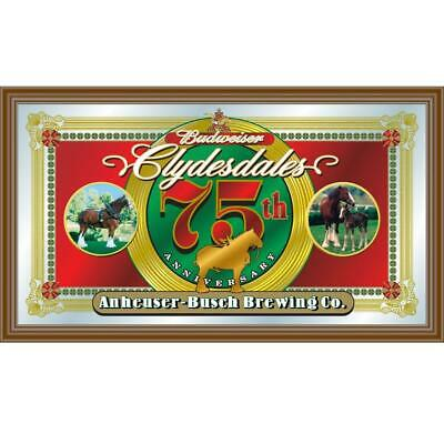 $ CDN74.76 • Buy Budweiser Clydesdales 75th Anniversary 15 In. X 26 In. Brown Wood Framed Mirror