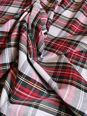 WHITE ROYAL STEWART TARTAN Fabric Material POLY COTTON Crafts Quilting Sewing 1M • 7.99£