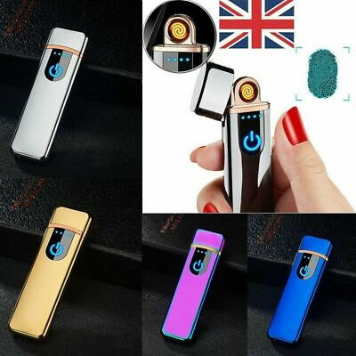 USB Rechargeable Electric Touch Sensor Metal Cigarette Lighter Charging Lighters • 5.59£