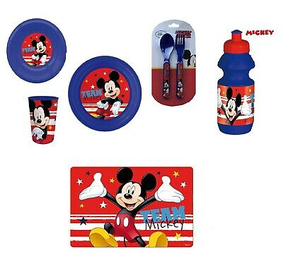 Mickey Mouse 6 Piece Meal Set Plate, Bowl,Tumbler,Bottle,Cutlery Set, Placemat • 14.99£
