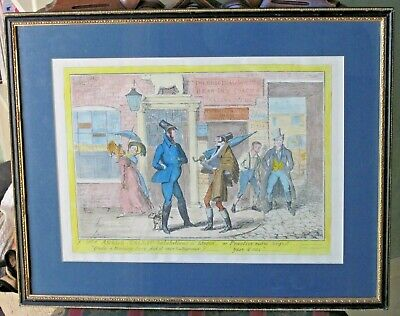 1835 G Cruikshank Caricature French Tourists Speech Mimicked Anglo-Gallic Framed • 95£