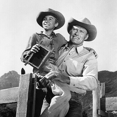 The Rifleman TV Series Chuck Connors With Screen Son Smiling 12x12 Inch Photo • 12.87£