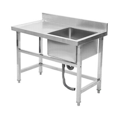 £239.95 • Buy Stainless Steel Commercial Catering Kitchen Single Bowl Sink With Wash Platform