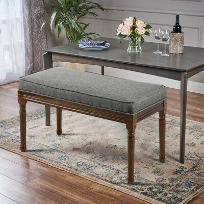 Antique Fabric Bench Window Seat Upholstered Bed End Chair Wooden Legs Stool • 91.14£