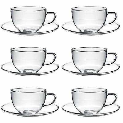 £29.99 • Buy Glass Cups And Saucers Cappuccino Tea Coffee Serving Cup Set 260ml X6