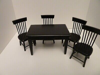 Dolls House Miniature 1:12th Kitchen Black Rectangle Table & 4 Kitchen Chairs • 23.59£