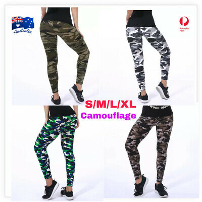 AU14.90 • Buy  Women's Yoga Leggings Fitness Running Soft Pants Camo Gym Workout Trouser Army