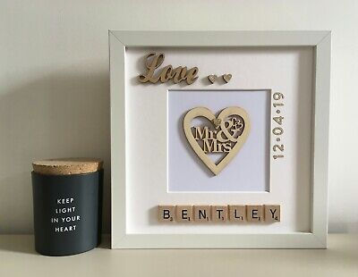 £25 • Buy (a) Scrabble Art Picture Frame Personalised Mr & Mrs Heart Wedding Anniversary