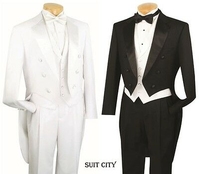 £108.15 • Buy Men's Formal Tuxedo Prom Wedding Groom Suit Classic Fit With Tail Black & White