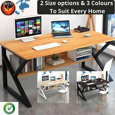 AU159.95 • Buy New Large Office Table Thick Wood & Metal Home Study Computer Desktop Desk