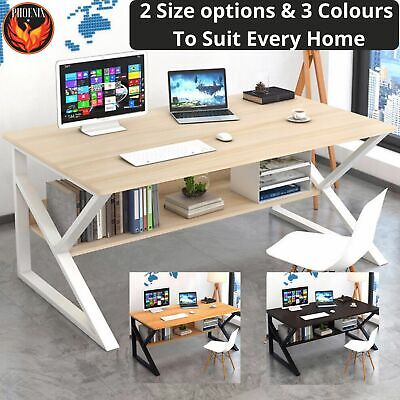 AU159.95 • Buy Computer Desk  Study Home Office Table Student White Metal Workstation Storage